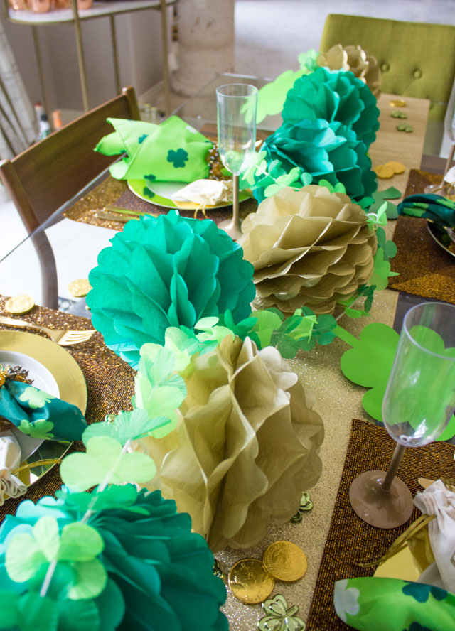 Honeycomb ball and shamrock table runner for St. Patrick's Day dinner party