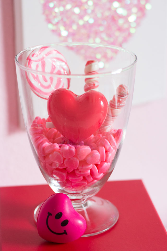 Fill a jar with candy for a fun Valentine's Day decoration!