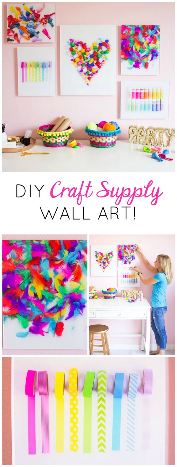 Turn snapshots of your favorite craft supplies into fun wall art for your office or craft room!