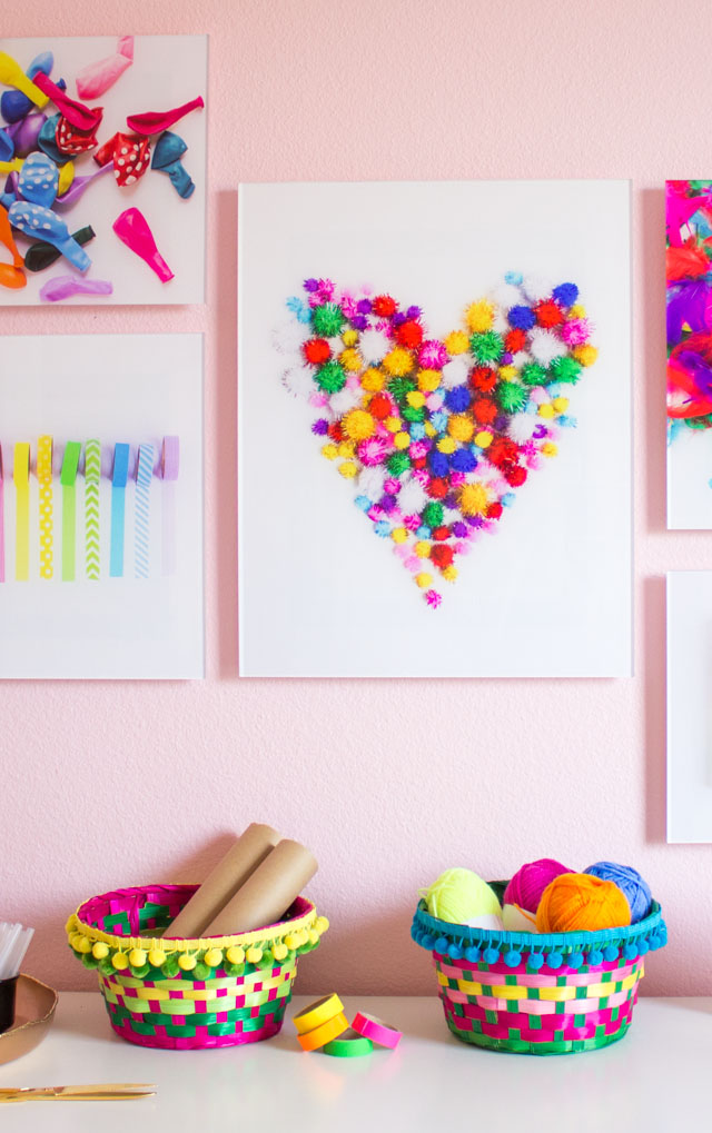 Love this colorful craft supply storage and craft room wall art!