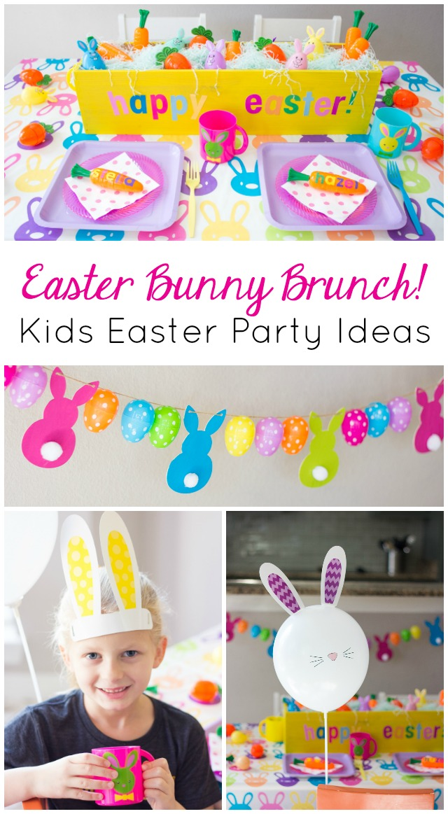 Create a colorful Easter bunny brunch for a simple kids Easter party idea!
