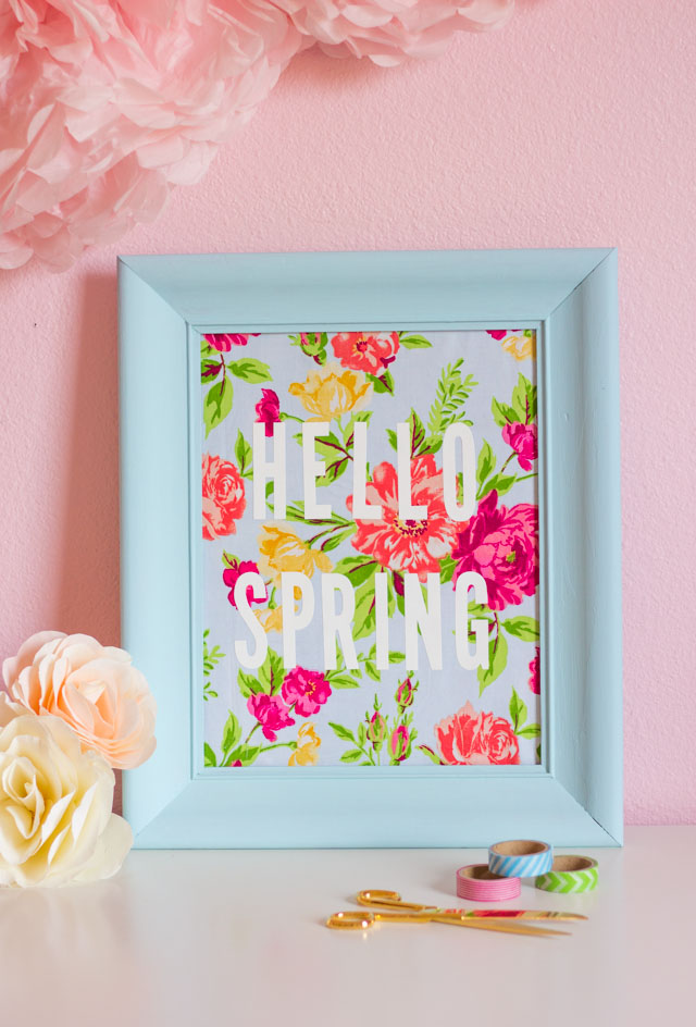 Transform an old picture frame into this colorful Hello Spring fabric art!