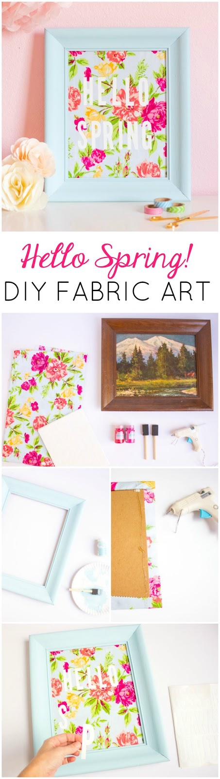 Such a fun thrift store makeover! Transform an old picture frame into this colorful Hello Spring fabric art!