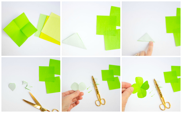 How to make paper shamrocks or four leaf clovers - so easy!