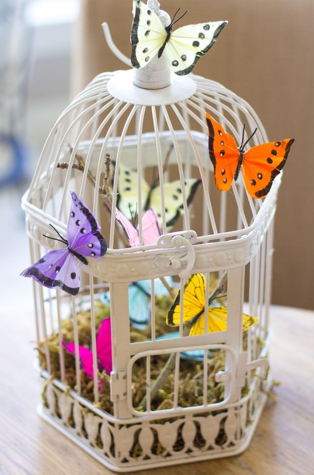 Butterfly decorated bird cage - so pretty and simple to make!