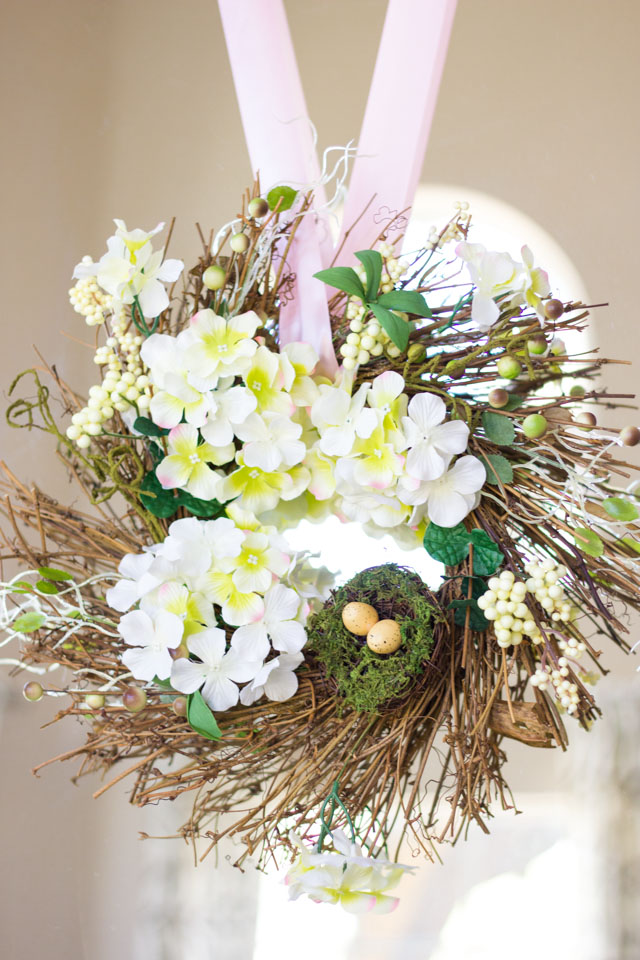 Pretty spring wreath with bird's nest from Oriental Trading