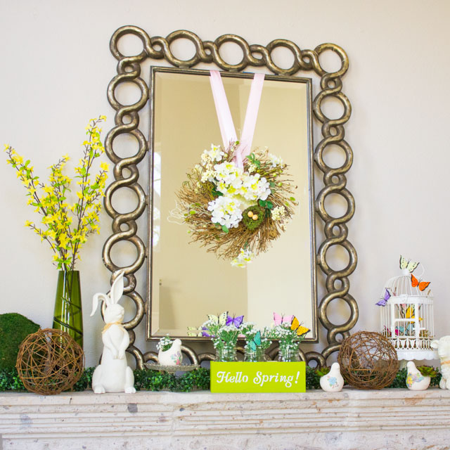 Such a pretty nature-filled spring mantel!