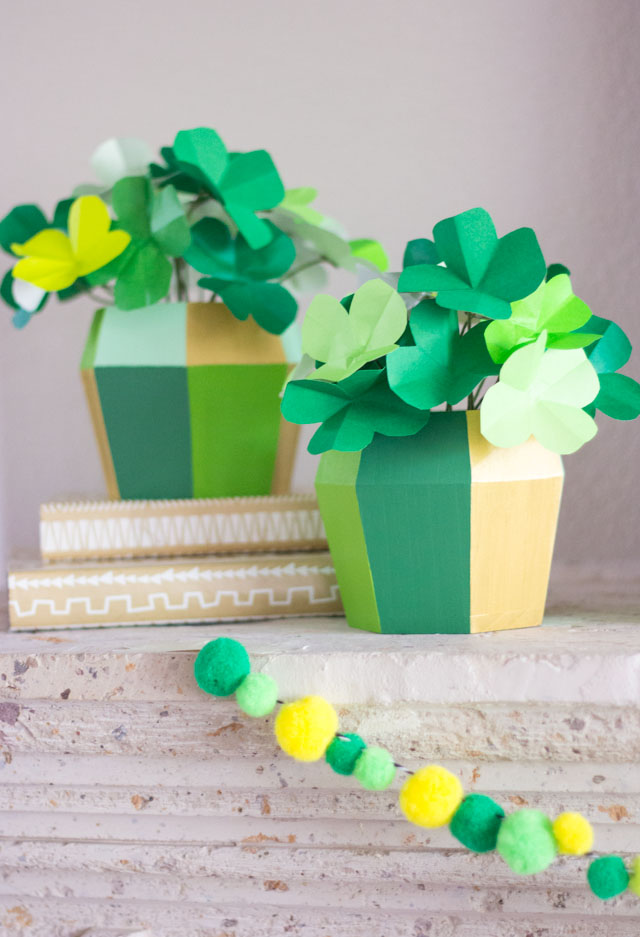 Make these shamrocks from paper in minutes for a pretty St. Patrick's Day centerpiece idea!