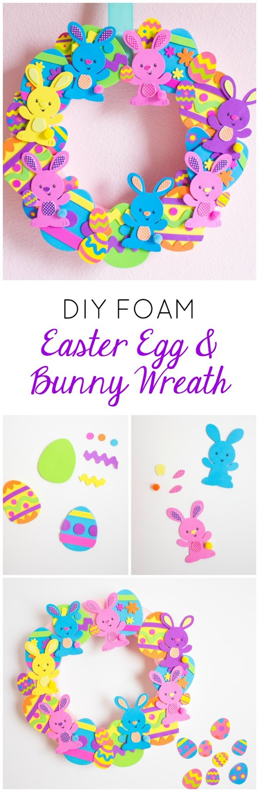 Make this sweet Easter egg and bunny wreath in minutes with foam craft kits!