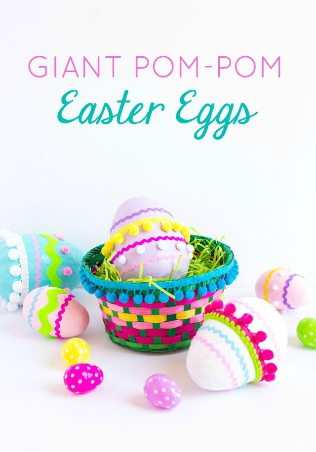 Giant pom-pom Easter eggs