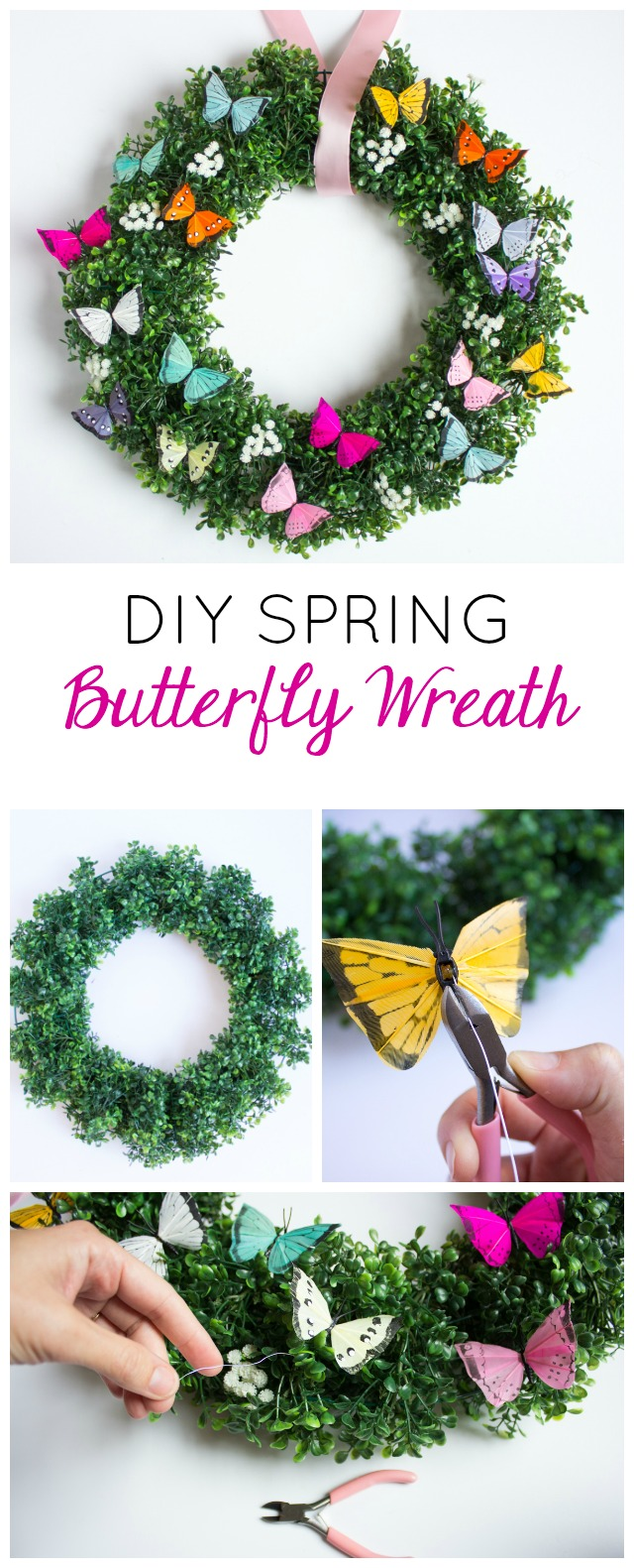 Make this simple and gorgeous DIY spring butterfly and boxwood wreath!