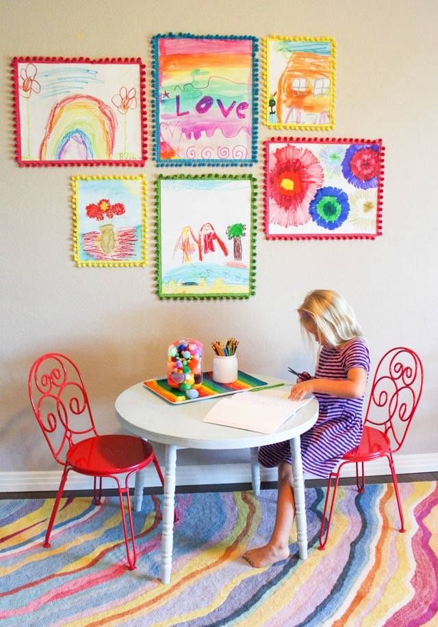 A fun way to display kids art in a gallery wall