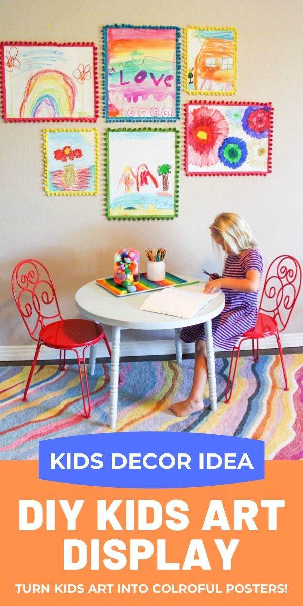 Display kids art by turning them into colorful posters with this tutorial!