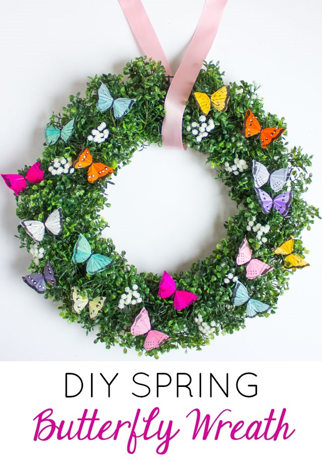 DIY Spring butterfly wreath