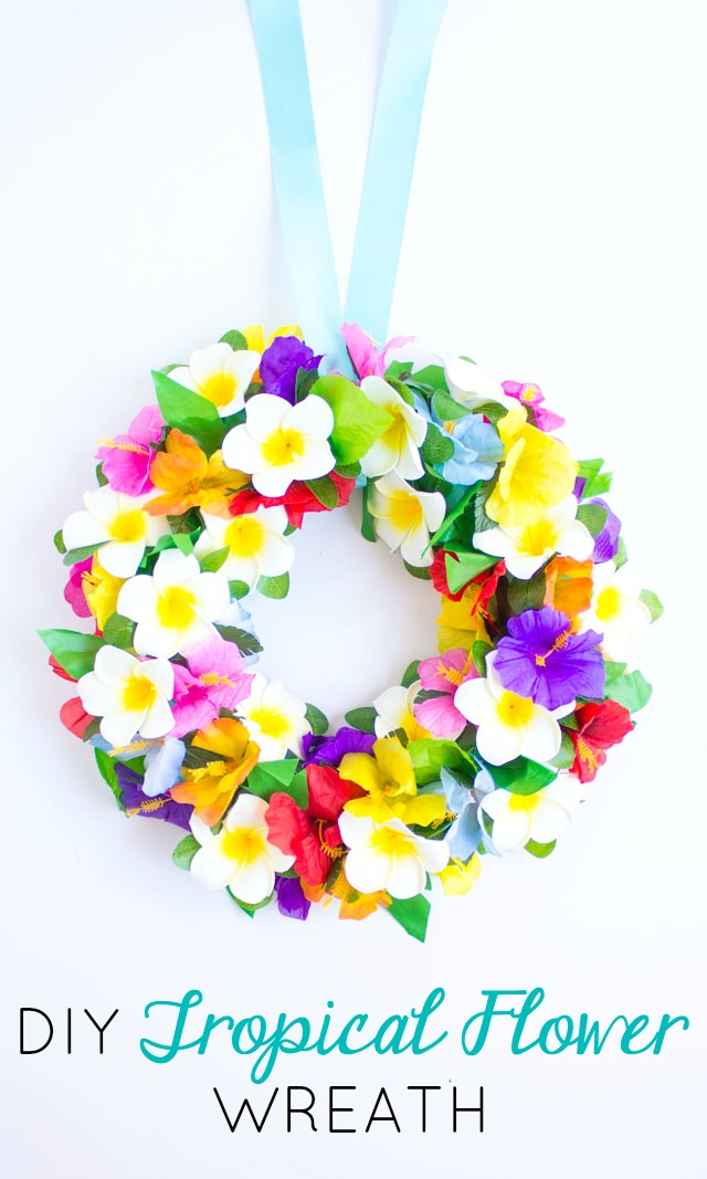 Make this DIY tropical hibiscus and plumeria wreath for summer!