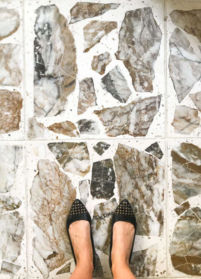 Love these agglomerate granite floor tiles!