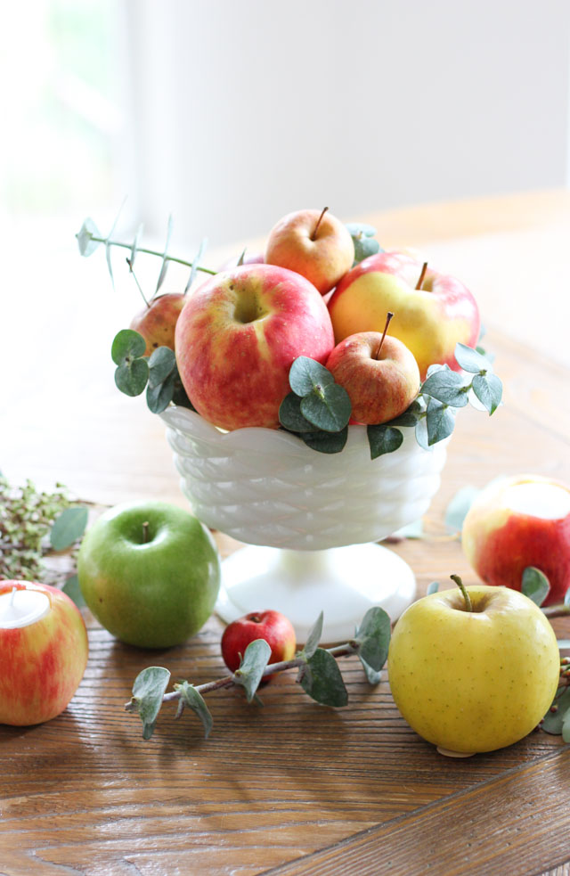 Make this gorgeous fall apple centerpiece in just five minutes!
