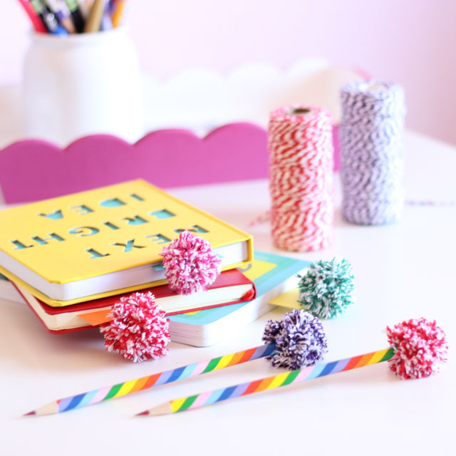 The cutest bakers twine pompoms - perfect for bookmarks and pencil toppers!