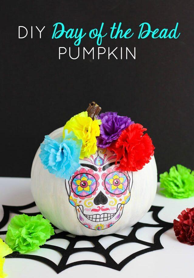 Day of the dead skeleton pumpkin