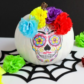 Make this DIY Day of the Dead Pumpkin with an adult coloring book!