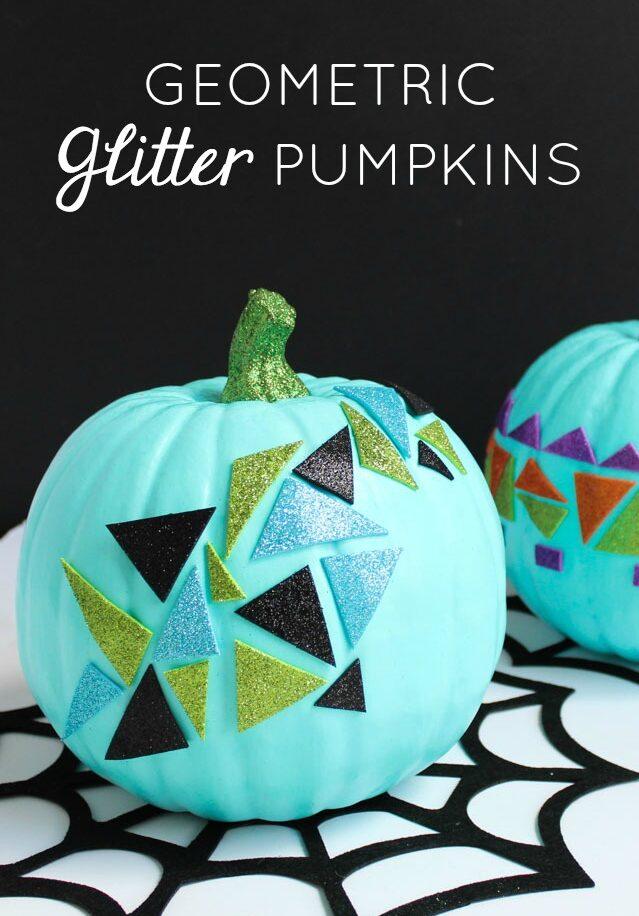 DIY modern geometric glitter pumpkins