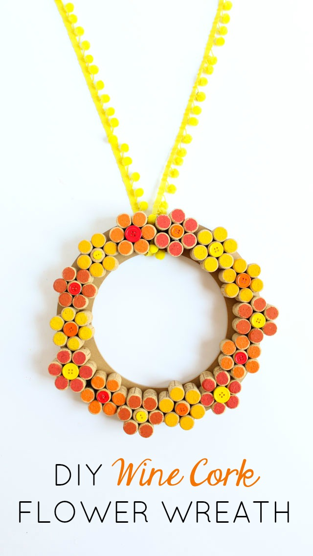 Turn your wine corks into a pretty fall flower wreath!