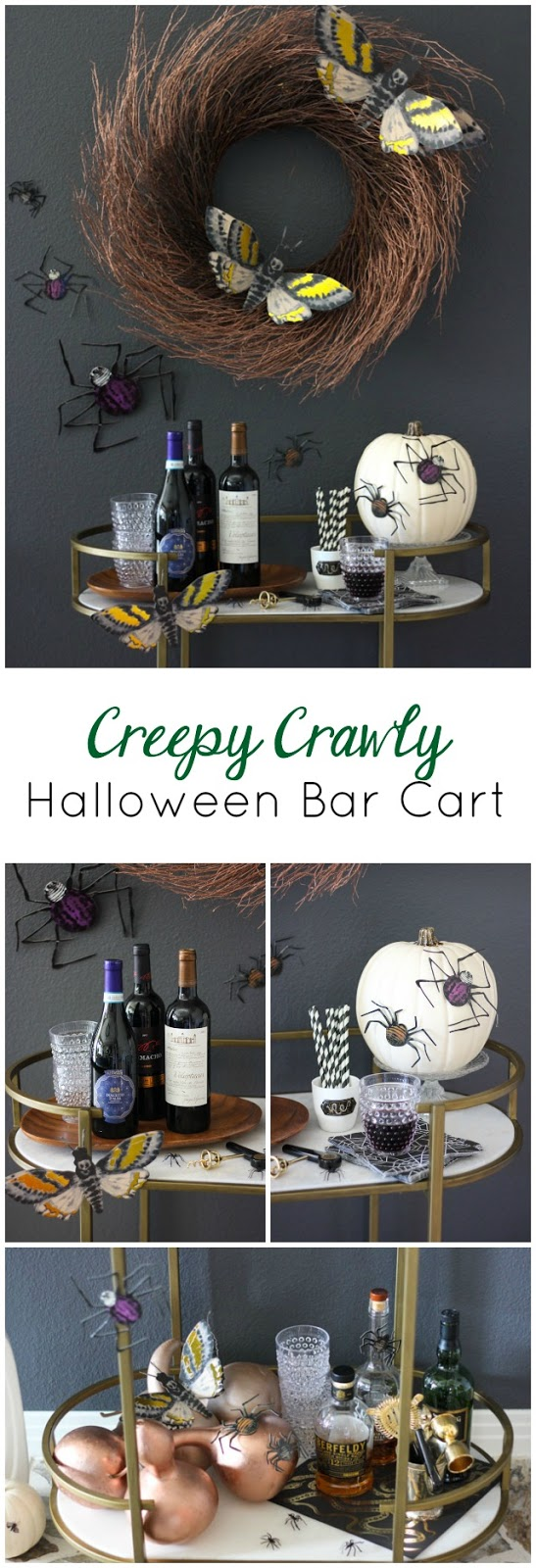 Create this bug-filled bar cart for your Halloween decor!