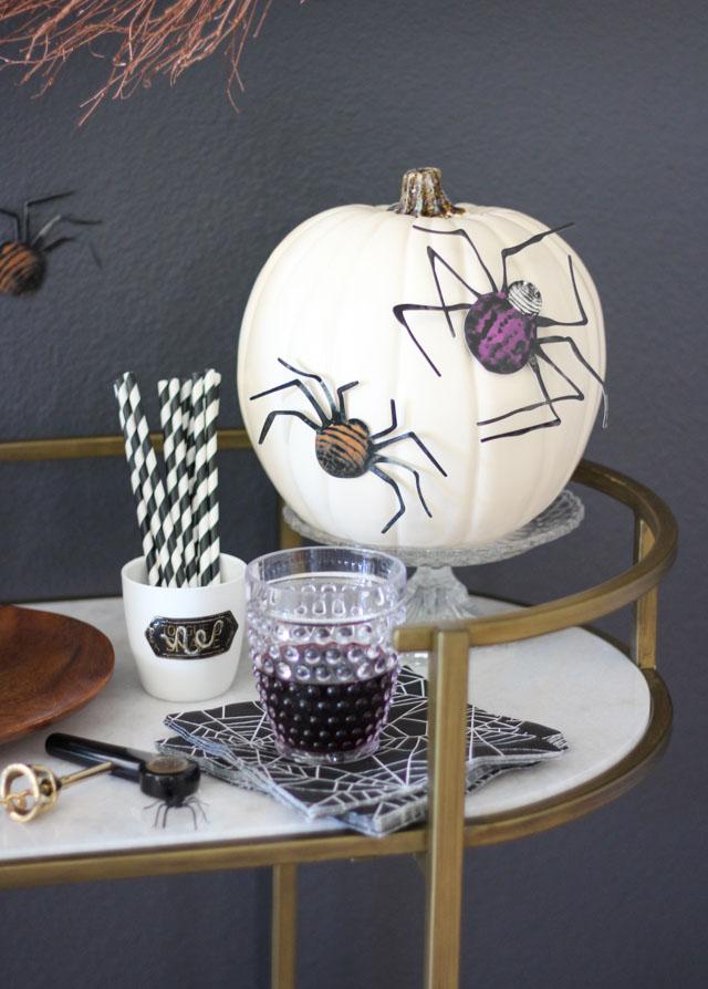 Spider decorated pumpkin with Martha Stewart Crafts