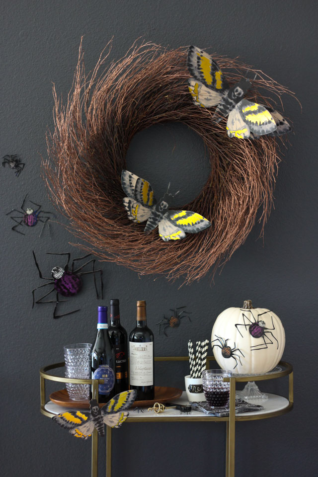 Create a bug-filled bar cart for your Halloween party!