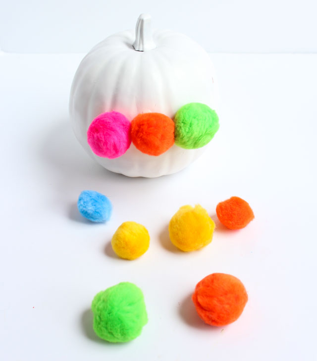 Ring In A Spicy Hot Palette Of Colors That Go With Orange: Pumpkin Week: Pom-Pom Decorated Pumpkins