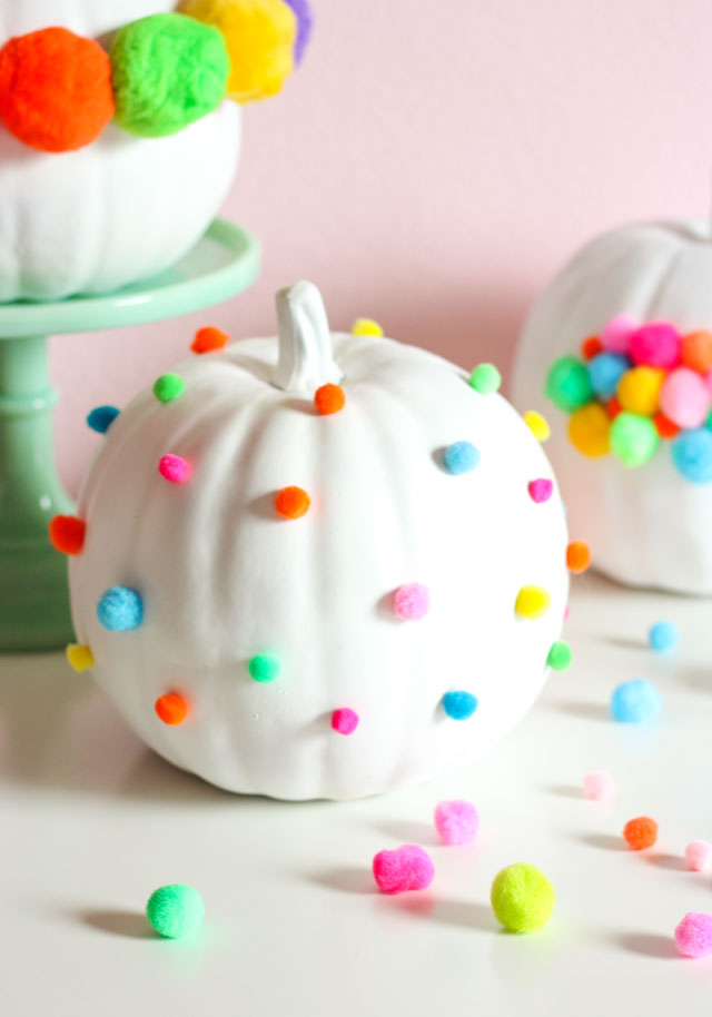 Make a polka dot pumpkin in minutes with pom-poms!