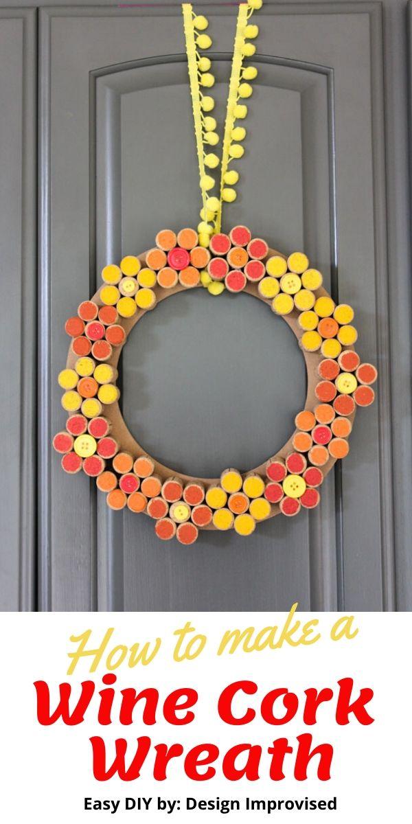 DIY Wine Cork Flower Wreath