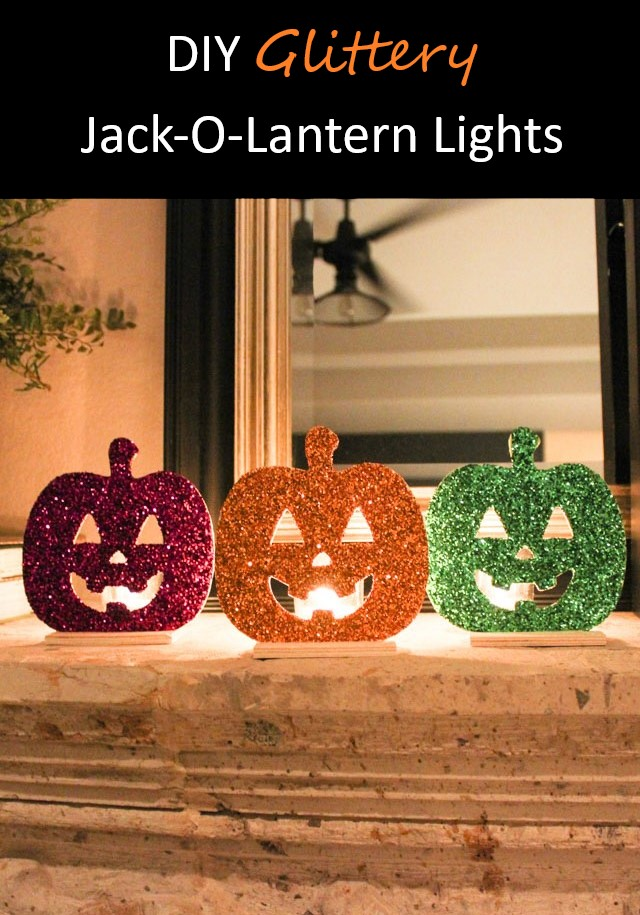 DIY Glittery Jack-o-Lantern Lights