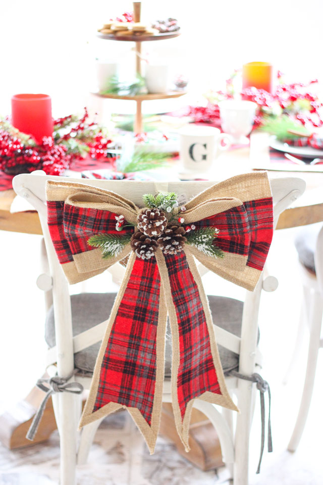 Pretty plaid and burlap Christmas bow from Tuesday Morning