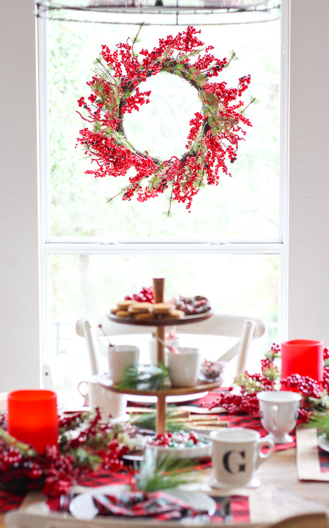 Gorgeous red berry Christmas wreath - hang in window using suction cups!