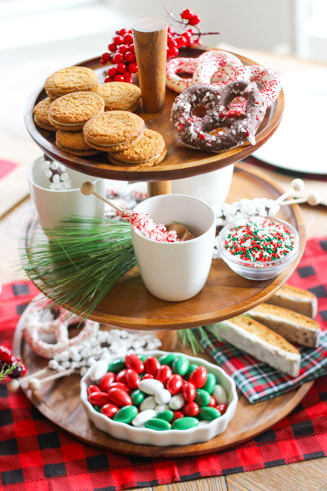 Easy Christmas centerpiece idea - use a tiered platter and Christmas treats!