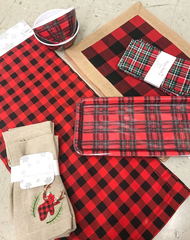 Plaid Christmas decor from Tuesday Morning stores