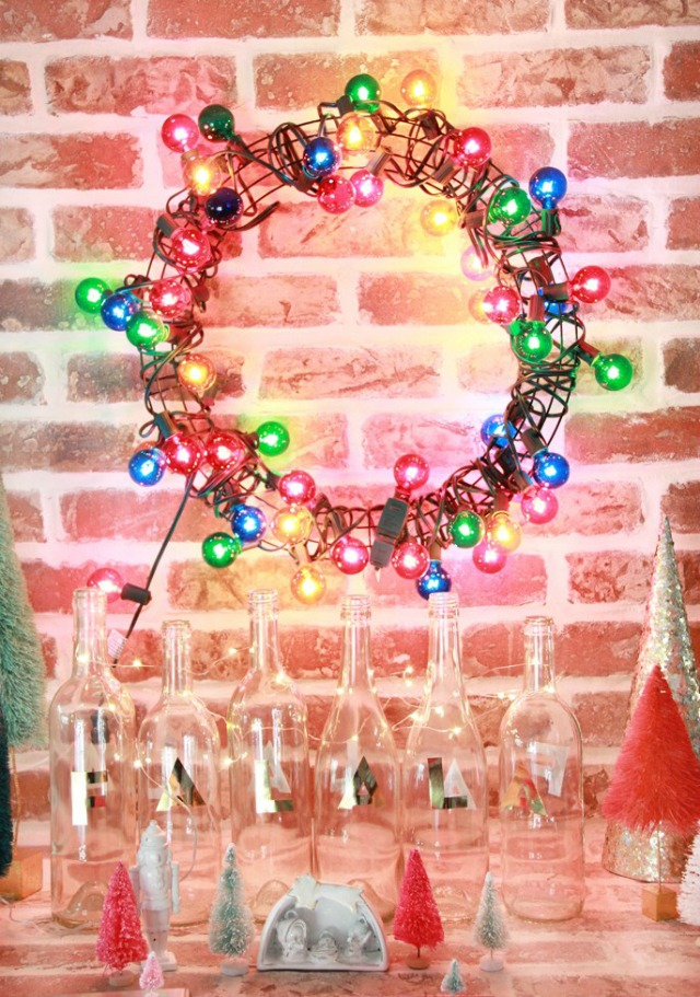 DIY Colorful Light Christmas Wreath