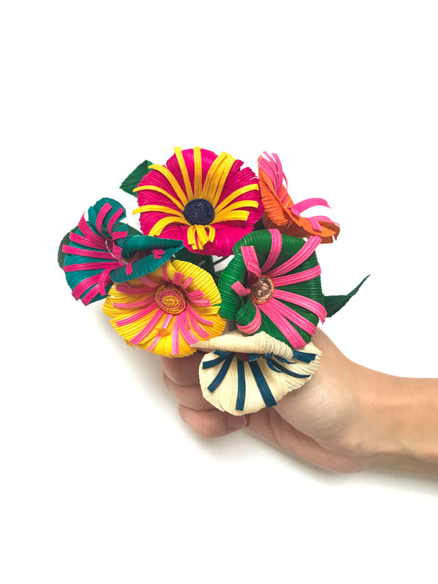 Colorful Mexican cornhusk flowers
