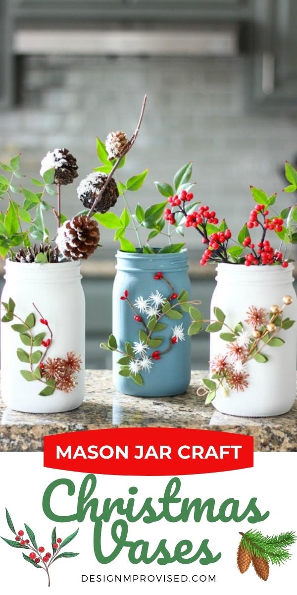 DIY Mason Jar Christmas Vases