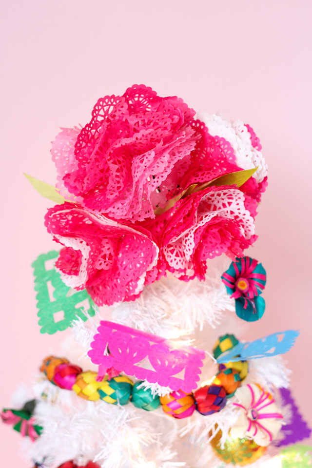 Tissue paper flower Christmas tree topper