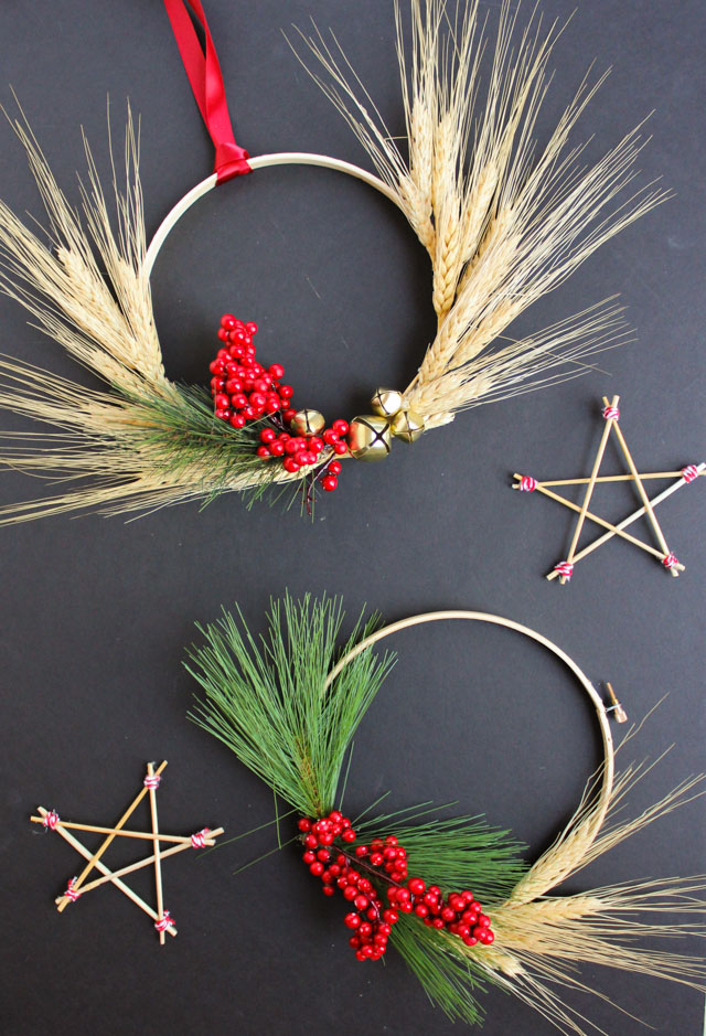 Christmas wheat wreaths and stars from Scandinavian Gatherings book