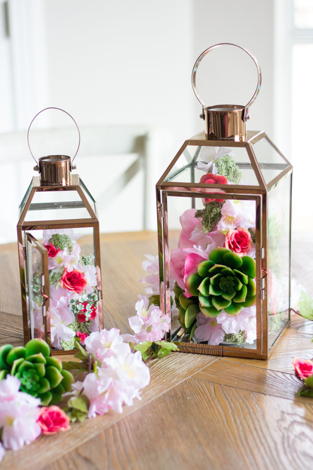 Make these gorgeous floral topiary spring lanterns with faux flowers and foam cones!