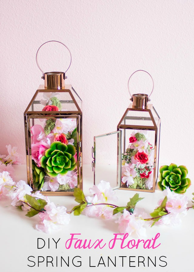 Make these gorgeous floral topiary spring lanterns with dollar store flowers and foam cones!