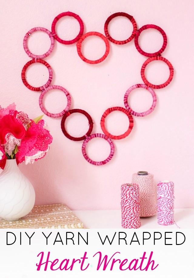DIY Yarn Wrapped Heart Wreath