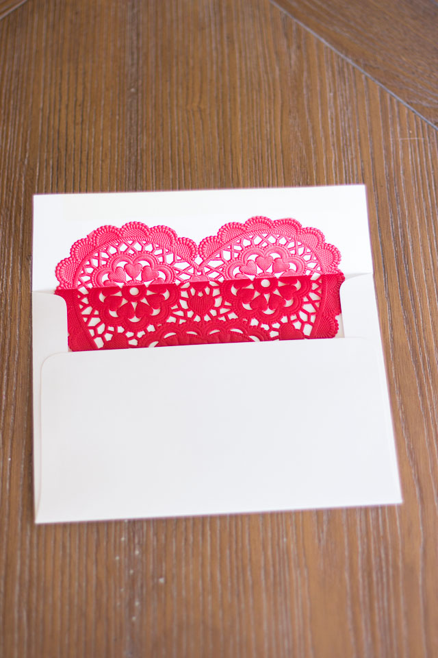 Paper heart doily Valentine envelope liners