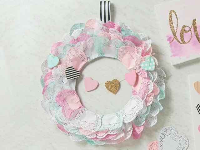 Use heart doilies to create this sweet Valentine's Day heart wreath!