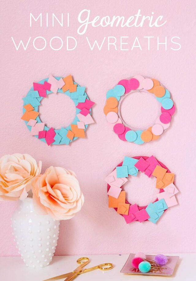 DIY mini diamond square circle wood shape wreaths