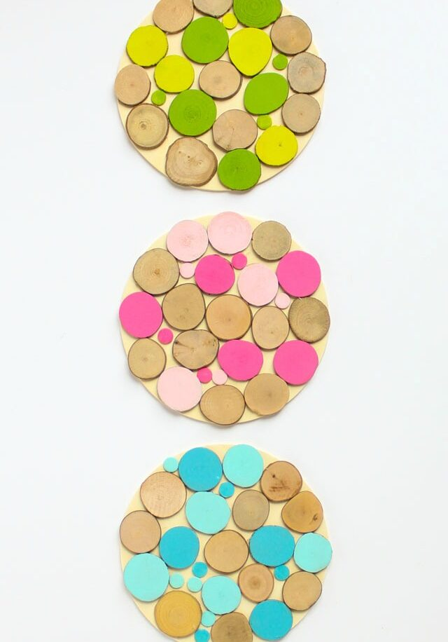 Cozy and Colorful Wood Slice Trivets