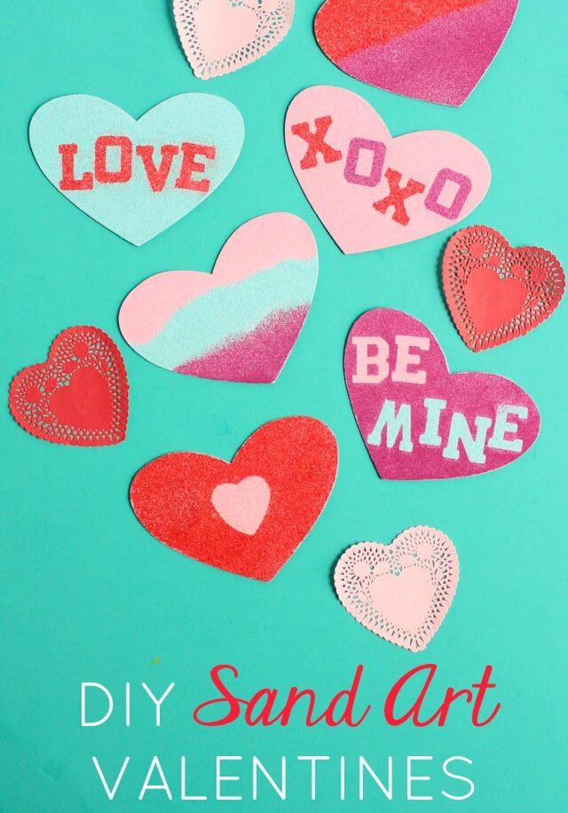 DIY sand art conversation heart valentines cards